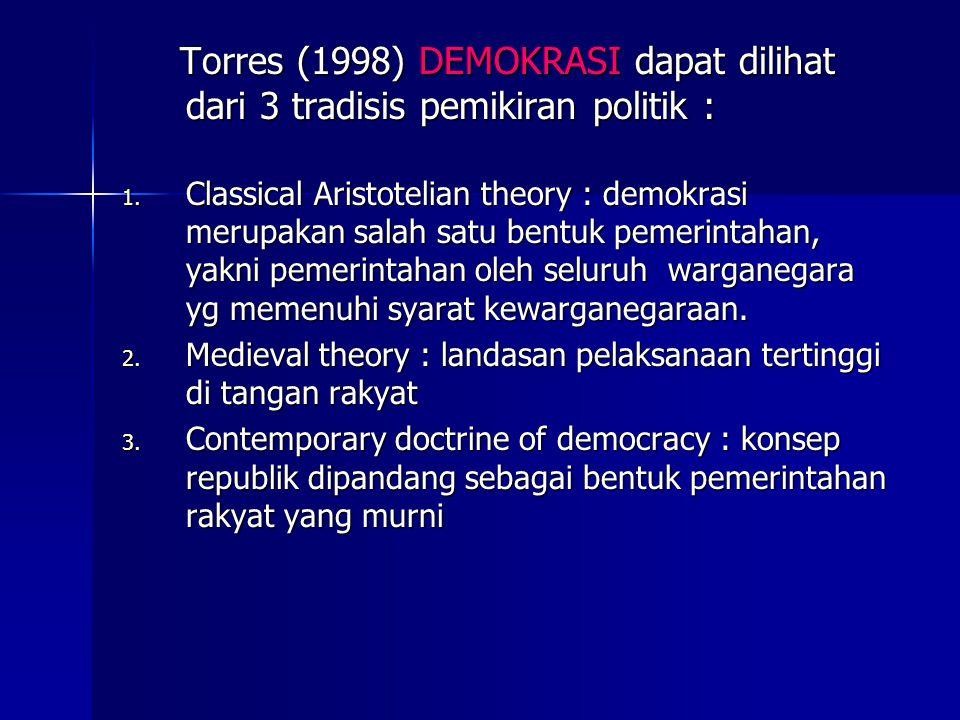 Torres (1998) DEMOKRASI dapat dilihat dari 3 tradisis pemikiran politik :
