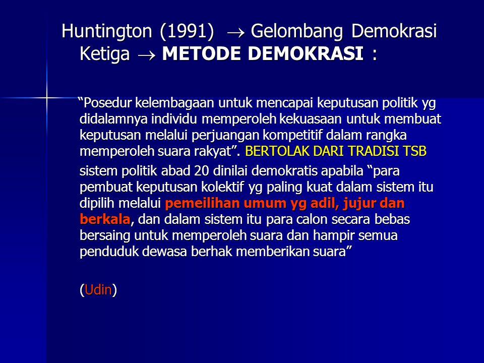 Huntington (1991)  Gelombang Demokrasi Ketiga  METODE DEMOKRASI :