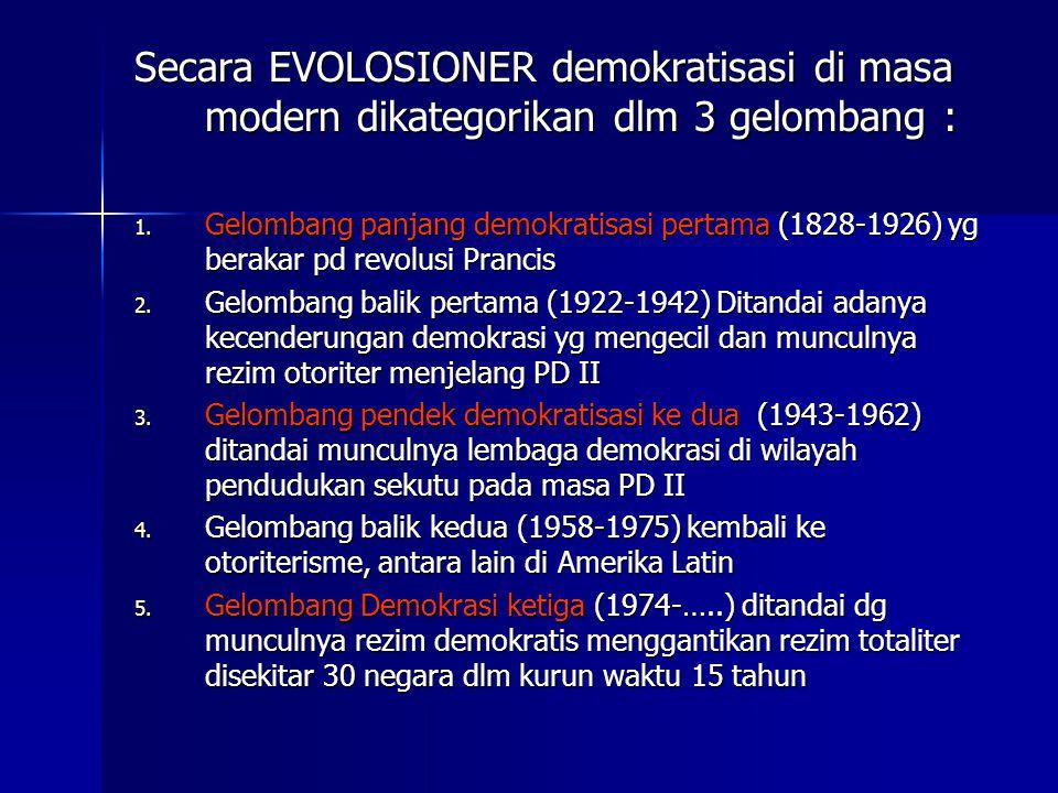 Secara EVOLOSIONER demokratisasi di masa modern dikategorikan dlm 3 gelombang :