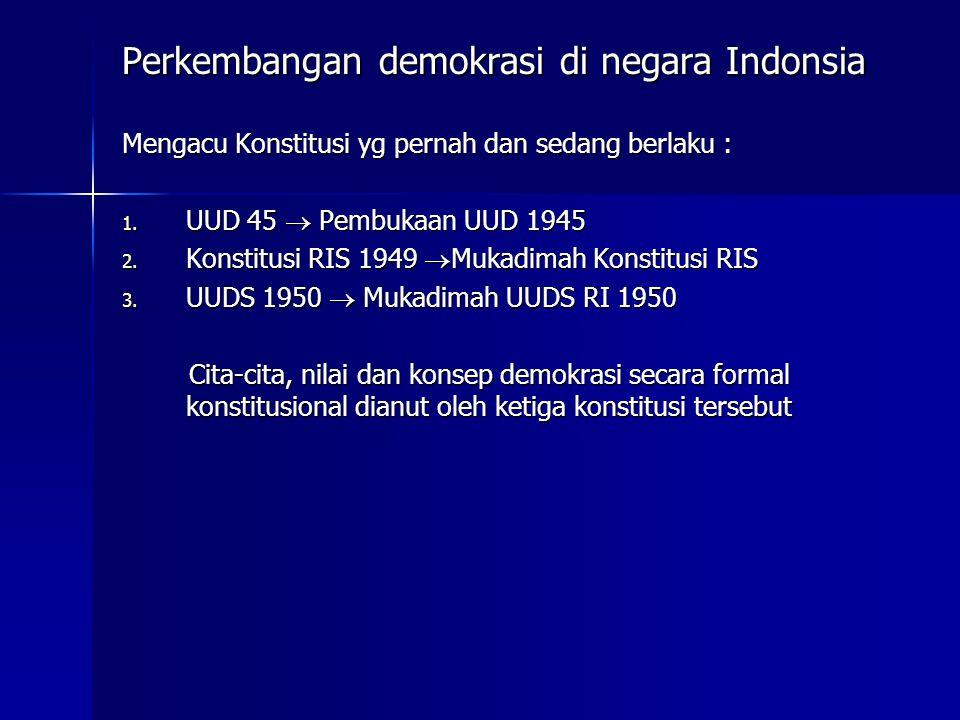 Perkembangan demokrasi di negara Indonsia