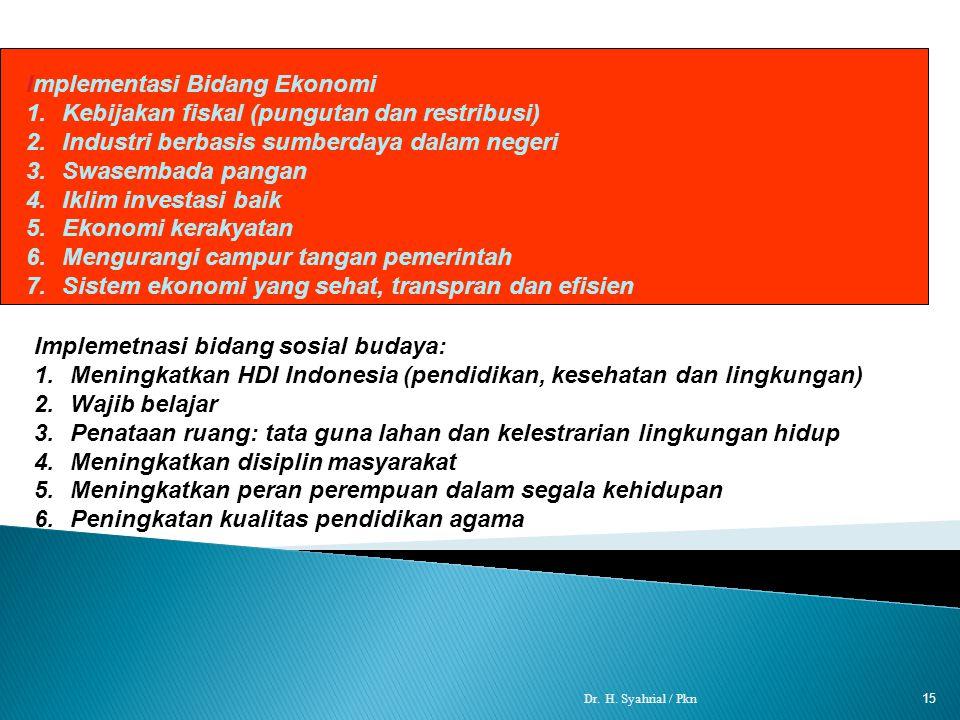 Implementasi Bidang Ekonomi Kebijakan fiskal (pungutan dan restribusi)