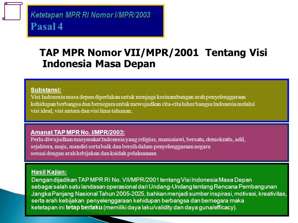 Pasal 4 . TAP MPR Nomor VII/MPR/2001 Tentang Visi Indonesia Masa Depan