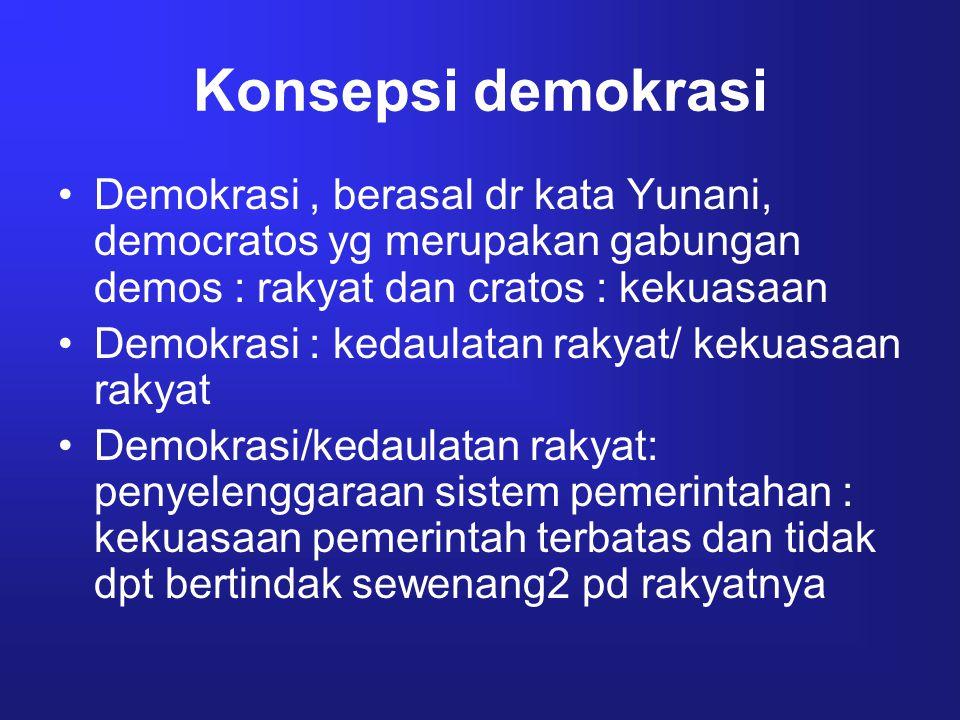 Konsepsi demokrasi Demokrasi , berasal dr kata Yunani, democratos yg merupakan gabungan demos : rakyat dan cratos : kekuasaan.
