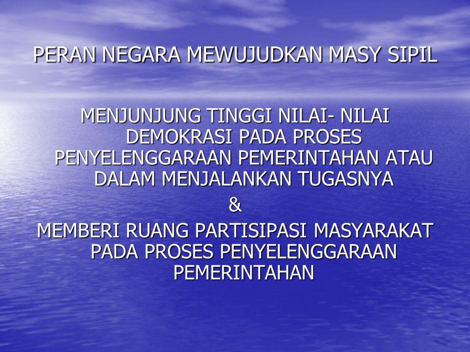 PERAN NEGARA MEWUJUDKAN MASY SIPIL