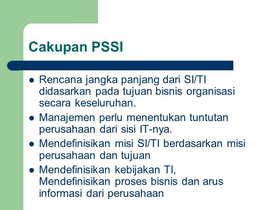 Cakupan PSSI Rencana jangka panjang dari SI/TI didasarkan pada tujuan bisnis organisasi secara keseluruhan.