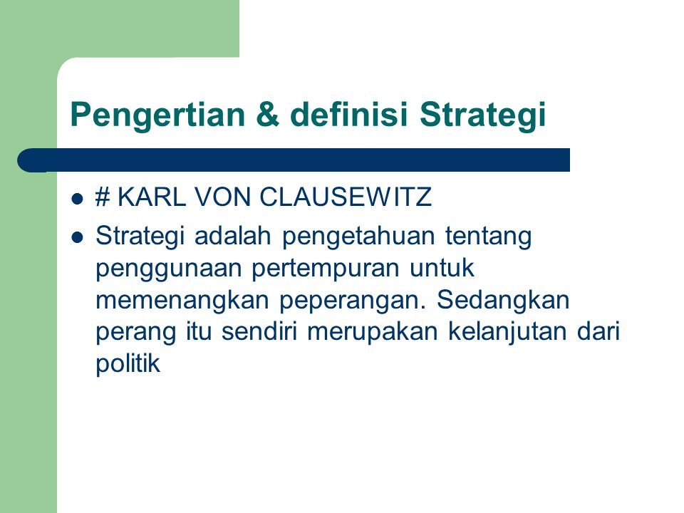 Pengertian & definisi Strategi