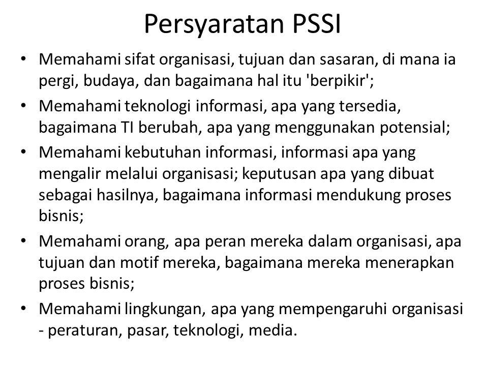 Persyaratan PSSI Memahami sifat organisasi, tujuan dan sasaran, di mana ia pergi, budaya, dan bagaimana hal itu berpikir ;