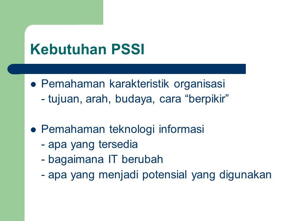 Kebutuhan PSSI Pemahaman karakteristik organisasi