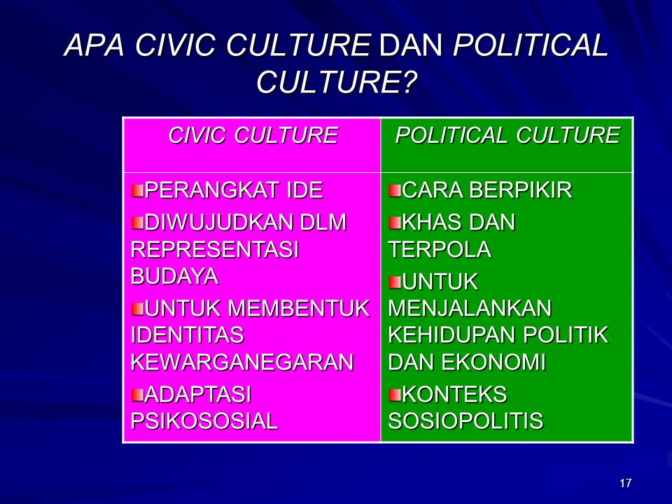 APA CIVIC CULTURE DAN POLITICAL CULTURE