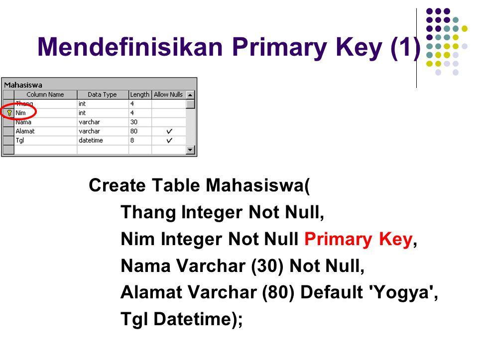 Mendefinisikan Primary Key (1)