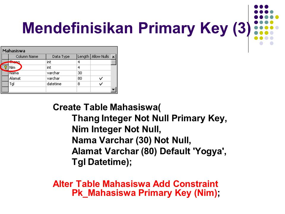 Mendefinisikan Primary Key (3)
