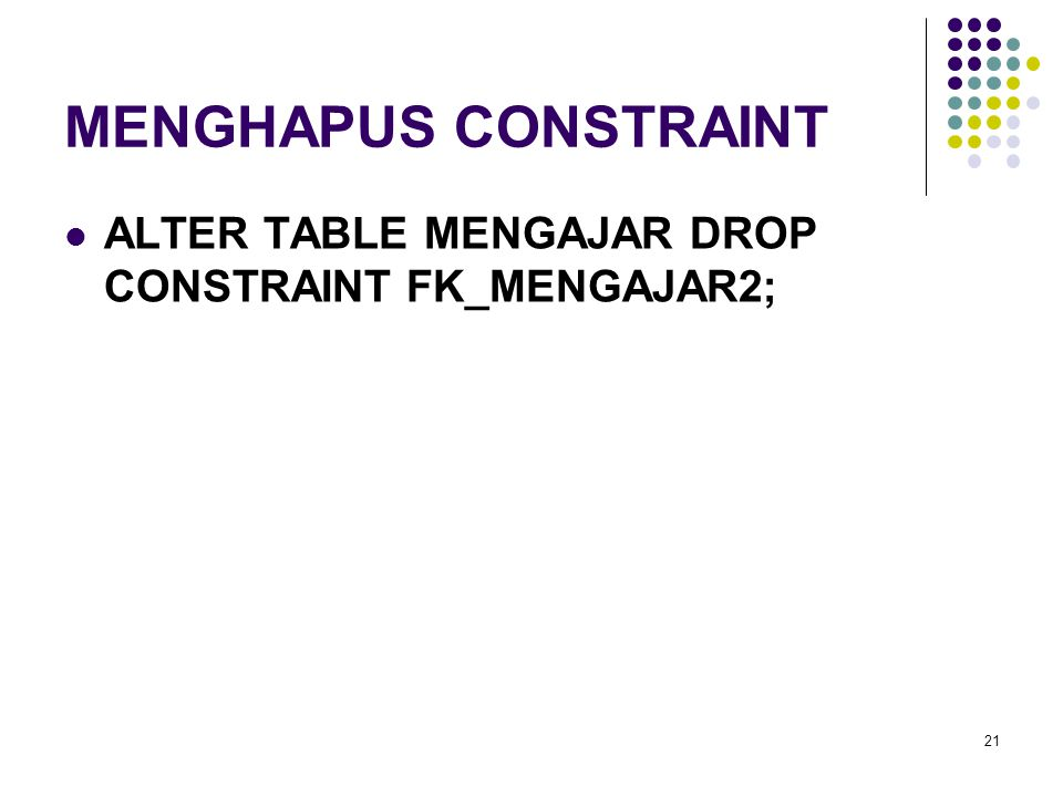 MENGHAPUS CONSTRAINT ALTER TABLE MENGAJAR DROP CONSTRAINT FK_MENGAJAR2;
