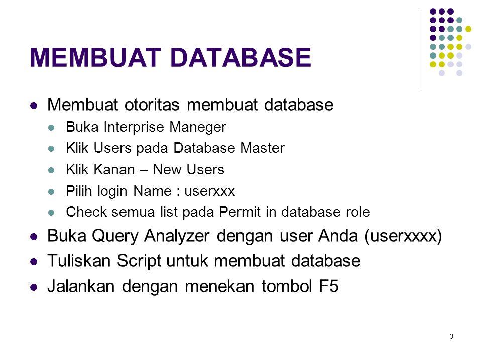 MEMBUAT DATABASE Membuat otoritas membuat database