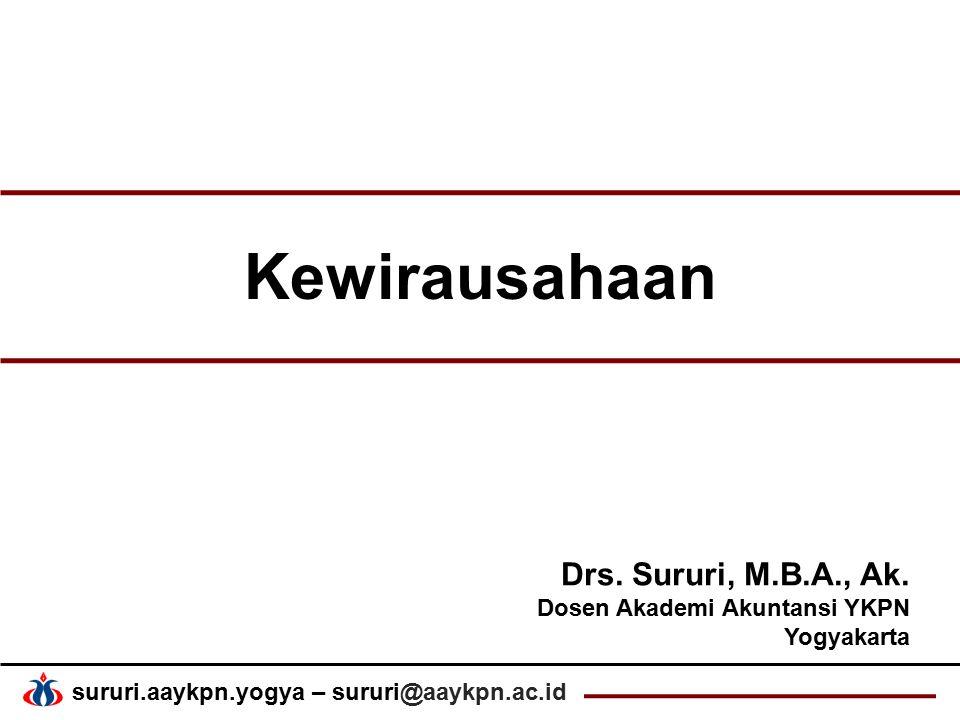 Kewirausahaan Drs. Sururi, M.B.A., Ak. Dosen Akademi Akuntansi YKPN