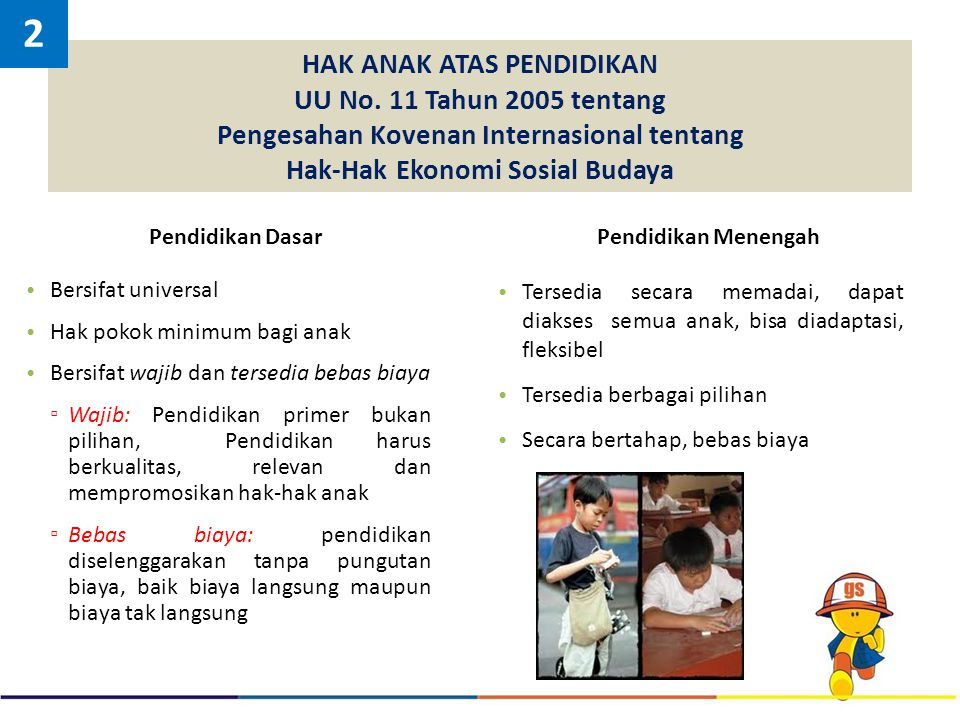 2 HAK ANAK ATAS PENDIDIKAN UU No. 11 Tahun 2005 tentang Pengesahan Kovenan Internasional tentang Hak-Hak Ekonomi Sosial Budaya.