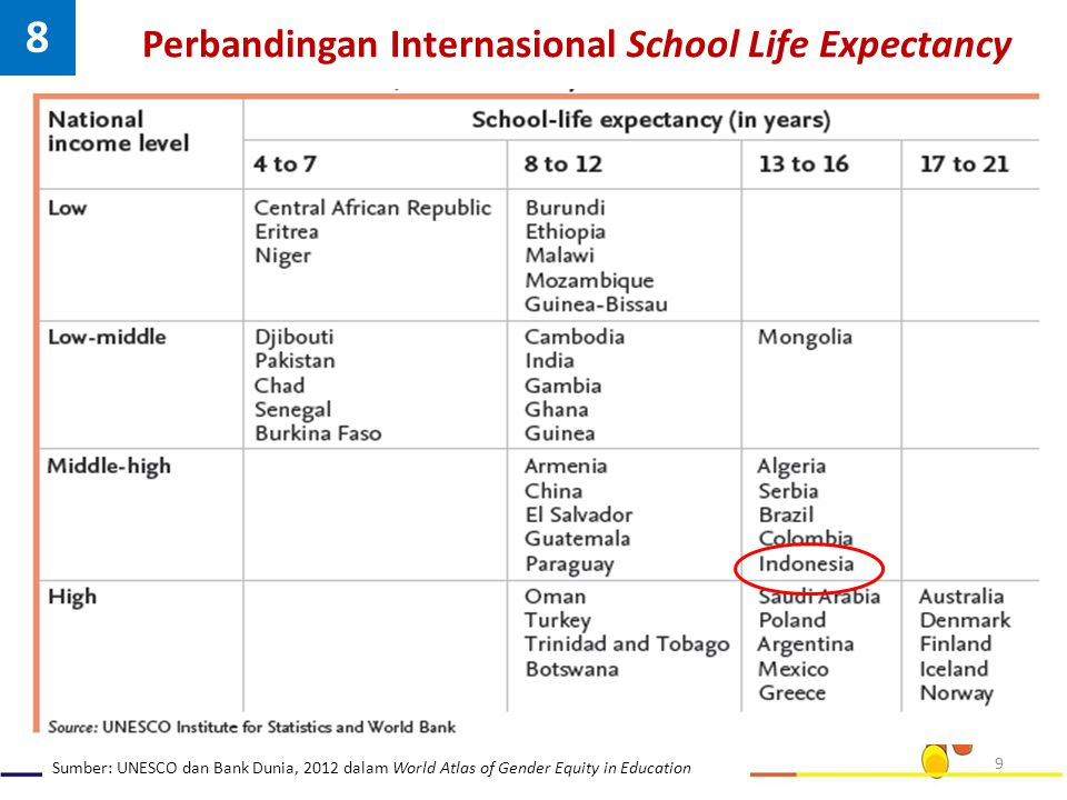 Perbandingan Internasional School Life Expectancy