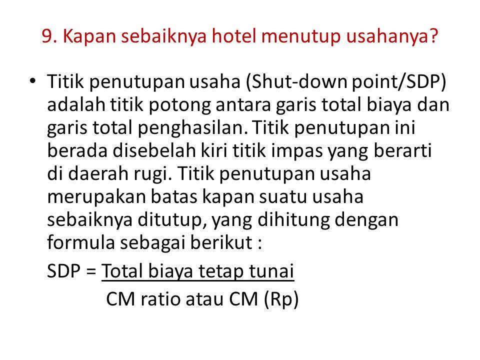 9. Kapan sebaiknya hotel menutup usahanya