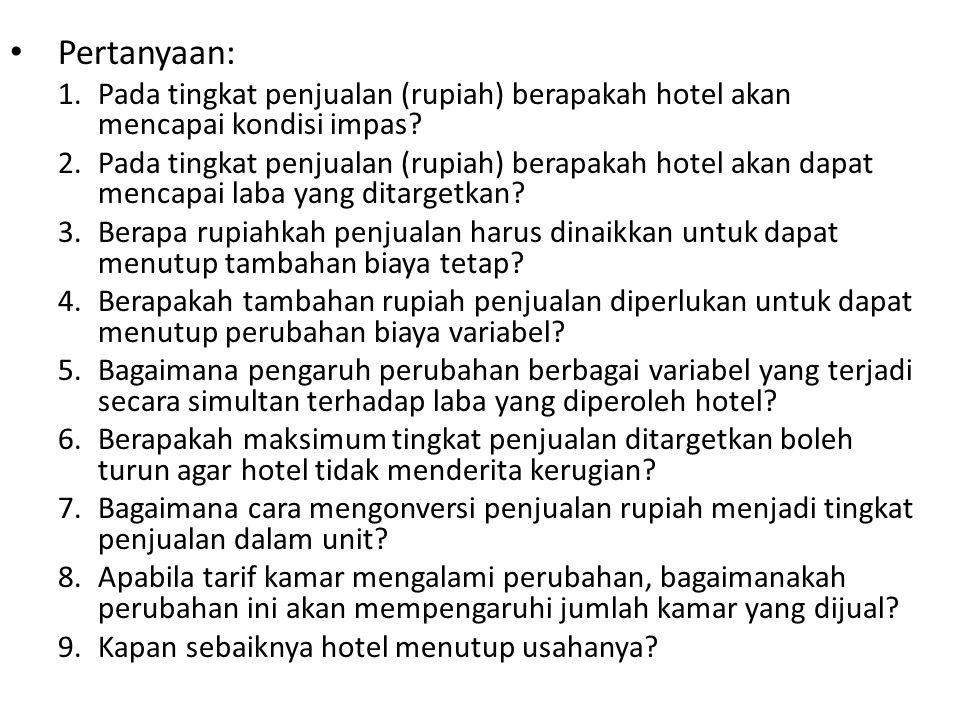 Pertanyaan: Pada tingkat penjualan (rupiah) berapakah hotel akan mencapai kondisi impas