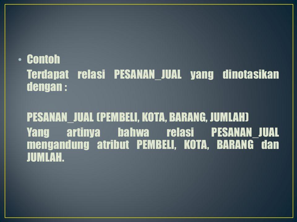 Contoh Terdapat relasi PESANAN_JUAL yang dinotasikan dengan : PESANAN_JUAL (PEMBELI, KOTA, BARANG, JUMLAH)