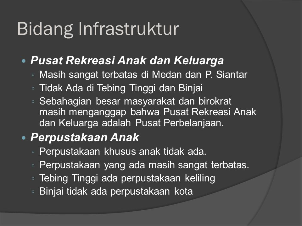 Bidang Infrastruktur Pusat Rekreasi Anak dan Keluarga