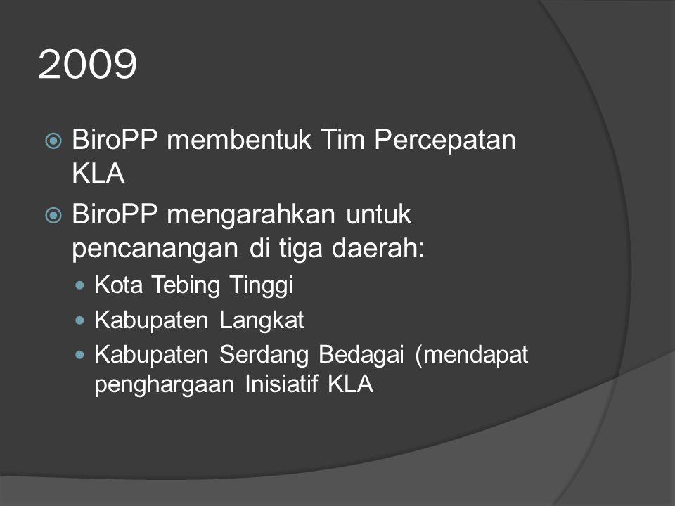 2009 BiroPP membentuk Tim Percepatan KLA