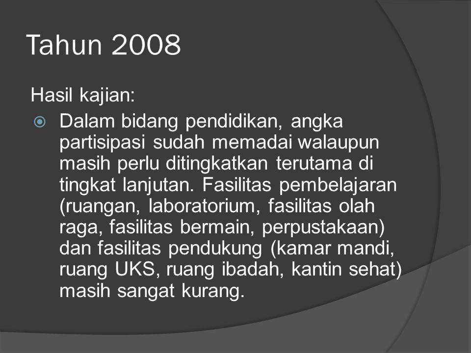 Tahun 2008 Hasil kajian: