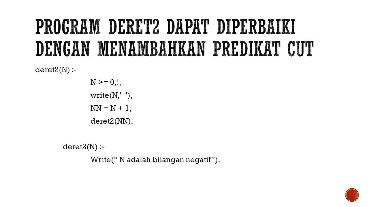 program deret2 dapat diperbaiki dengan menambahkan predikat cut