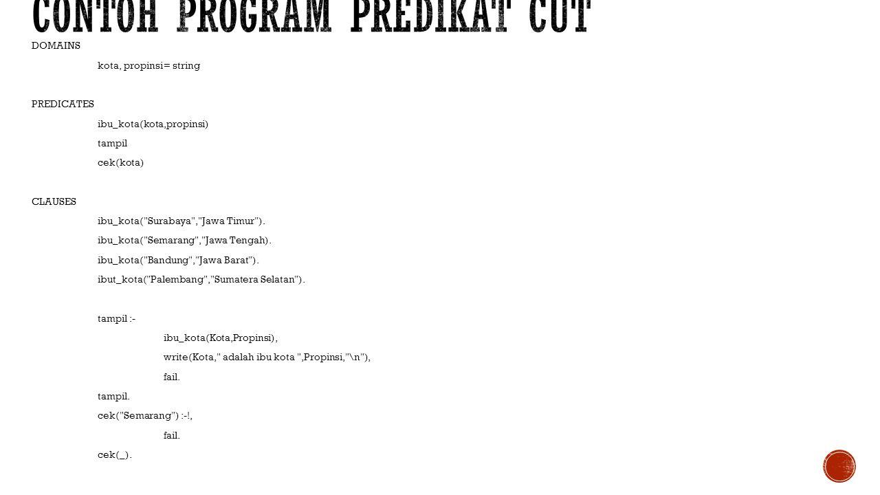 Contoh program predikat cut
