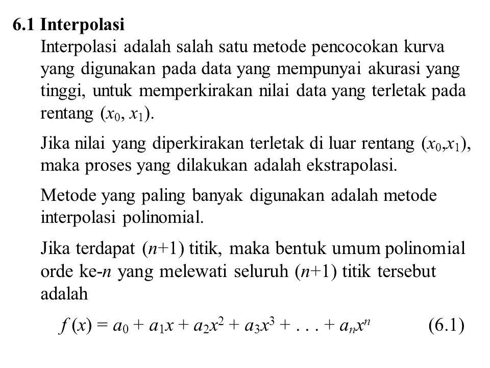 Jika terdapat (n+1) titik, maka bentuk umum polinomial