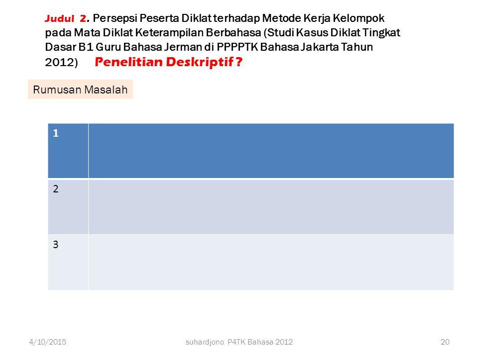 Judul 2. Persepsi Peserta Diklat terhadap Metode Kerja Kelompok pada Mata Diklat Keterampilan Berbahasa (Studi Kasus Diklat Tingkat Dasar B1 Guru Bahasa Jerman di PPPPTK Bahasa Jakarta Tahun 2012) Penelitian Deskriptif