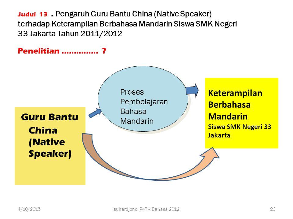 Keterampilan Berbahasa Mandarin Siswa SMK Negeri 33 Jakarta
