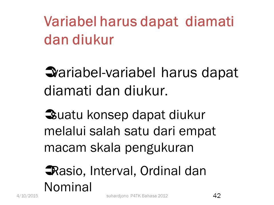 Variabel harus dapat diamati dan diukur