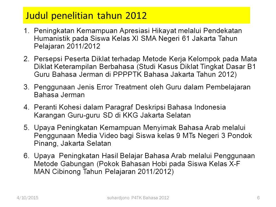 Judul penelitian tahun 2012