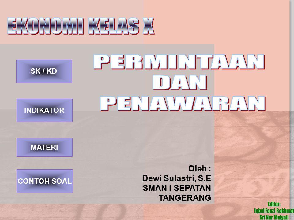 EKONOMI KELAS X PERMINTAAN DAN PENAWARAN Oleh : Dewi Sulastri, S.E