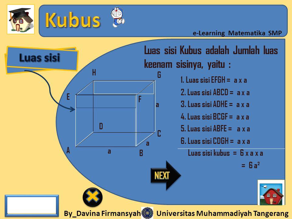 Luas sisi Luas sisi Kubus adalah Jumlah luas keenam sisinya, yaitu :
