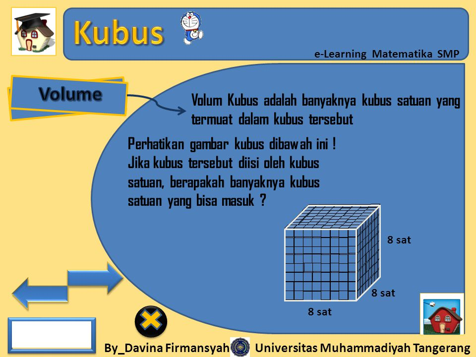 Volume Volum Kubus adalah banyaknya kubus satuan yang termuat dalam kubus tersebut. Perhatikan gambar kubus dibawah ini !