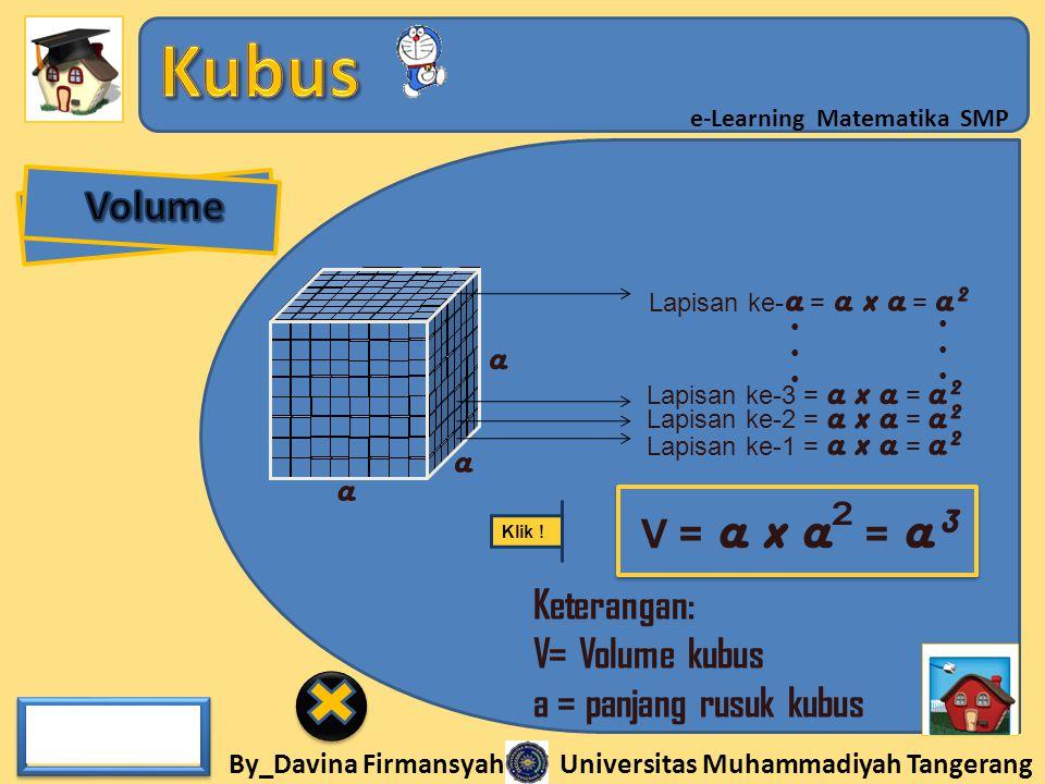 Volume a a a V = a x a² = a³ Keterangan: V= Volume kubus