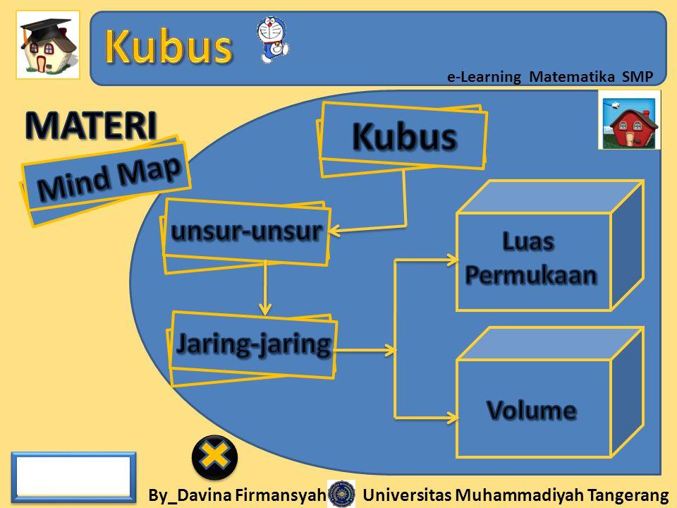 MATERI Kubus Mind Map Luas Permukaan unsur-unsur Jaring-jaring Volume