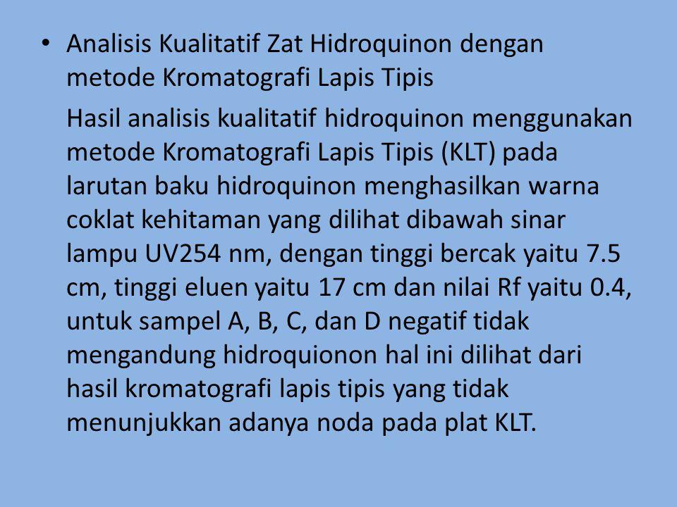 Analisis Kualitatif Zat Hidroquinon dengan metode Kromatografi Lapis Tipis