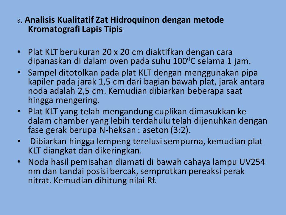 8. Analisis Kualitatif Zat Hidroquinon dengan metode Kromatografi Lapis Tipis