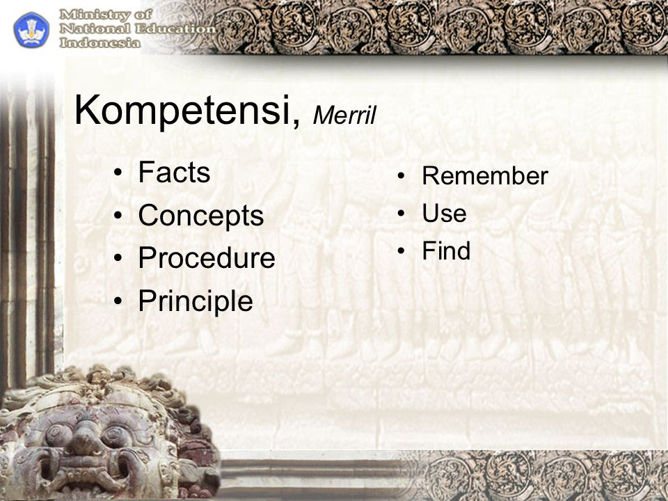 Kompetensi, Merril Facts Concepts Procedure Principle Remember Use