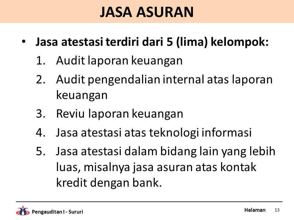 JASA ASURAN Jasa atestasi terdiri dari 5 (lima) kelompok: