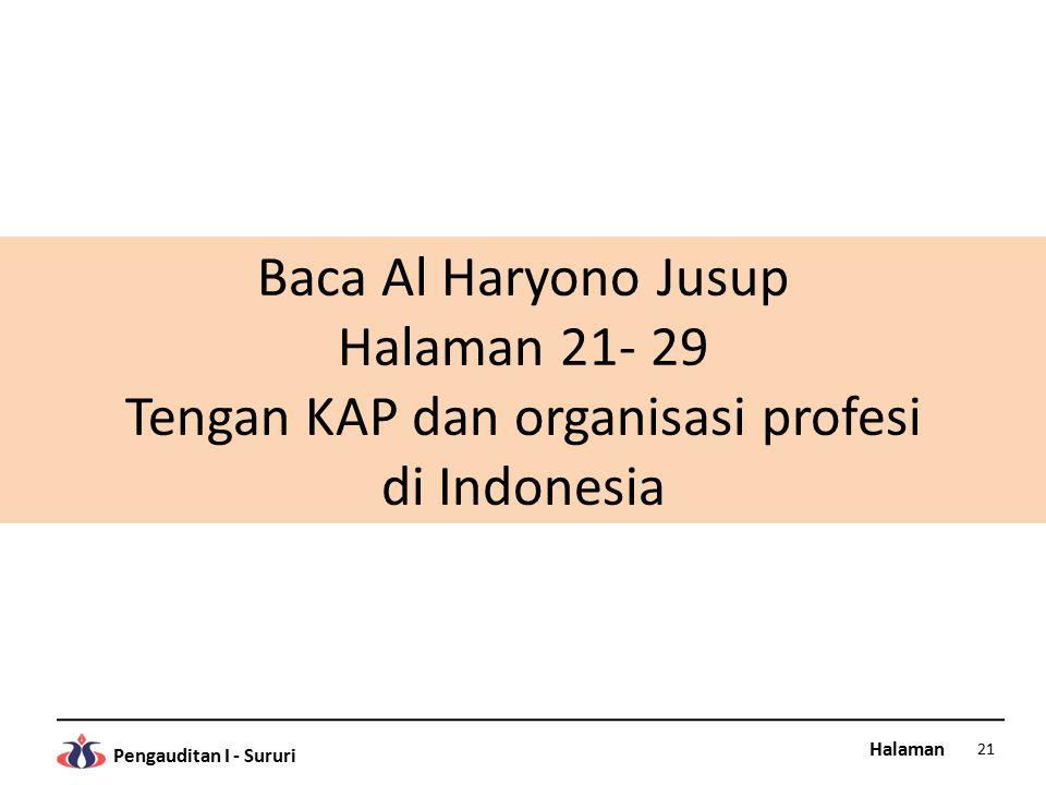Baca Al Haryono Jusup Halaman 21- 29 Tengan KAP dan organisasi profesi di Indonesia