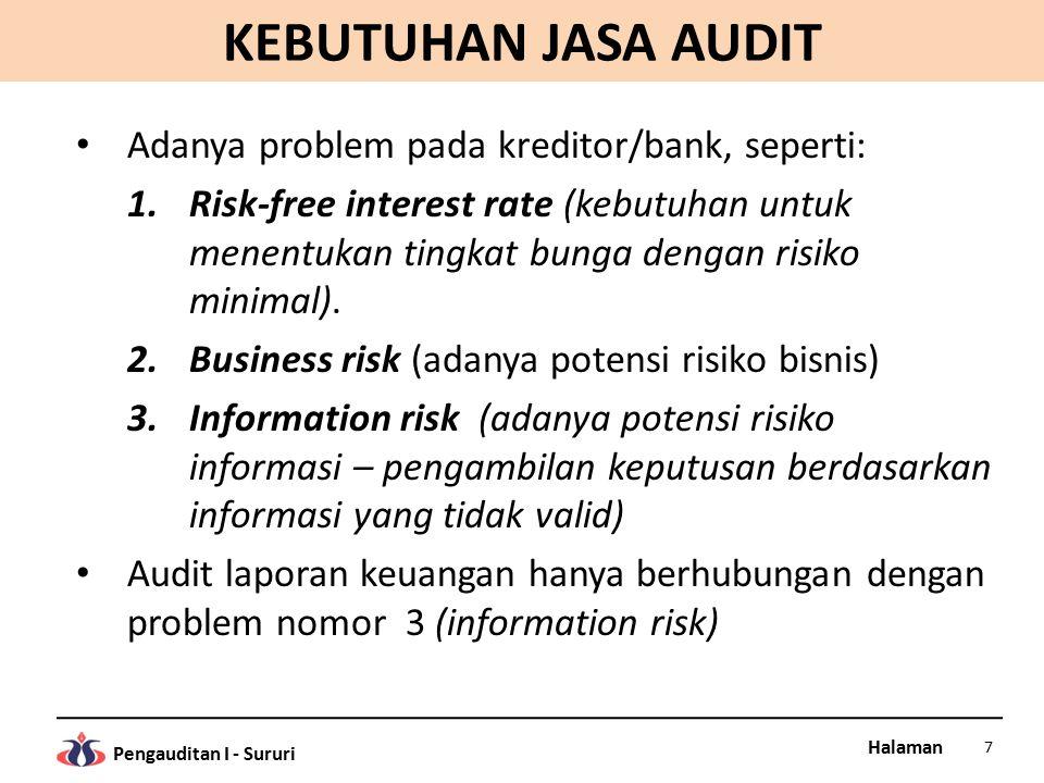 KEBUTUHAN JASA AUDIT Adanya problem pada kreditor/bank, seperti: