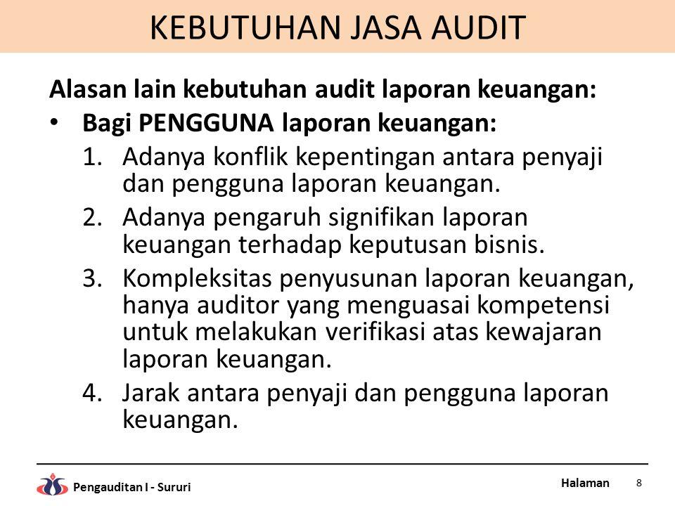 KEBUTUHAN JASA AUDIT Alasan lain kebutuhan audit laporan keuangan: