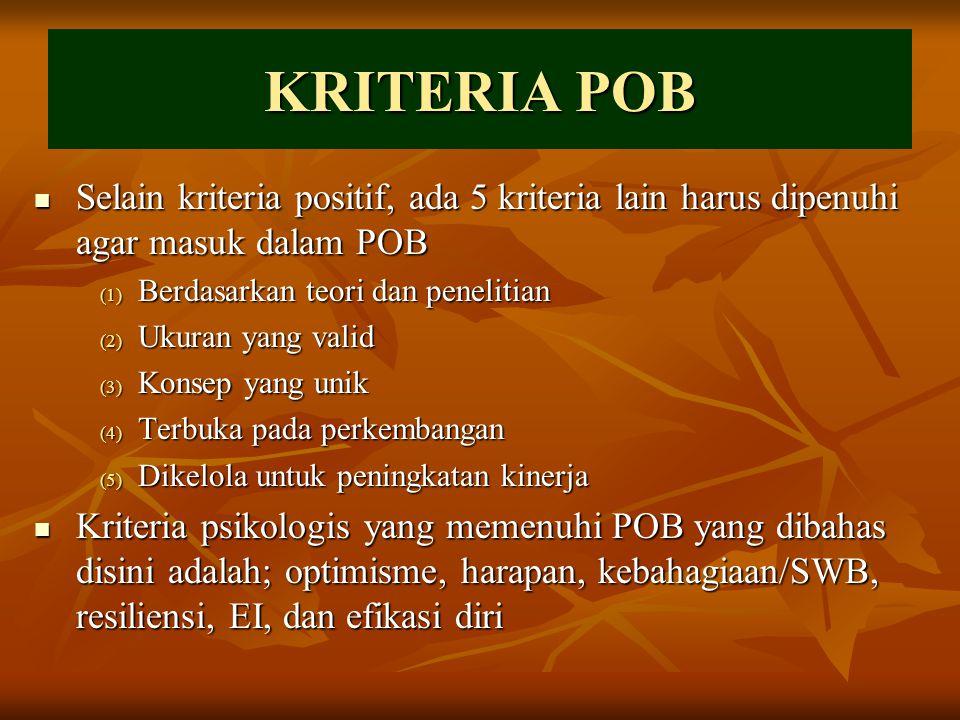 KRITERIA POB Selain kriteria positif, ada 5 kriteria lain harus dipenuhi agar masuk dalam POB. Berdasarkan teori dan penelitian.