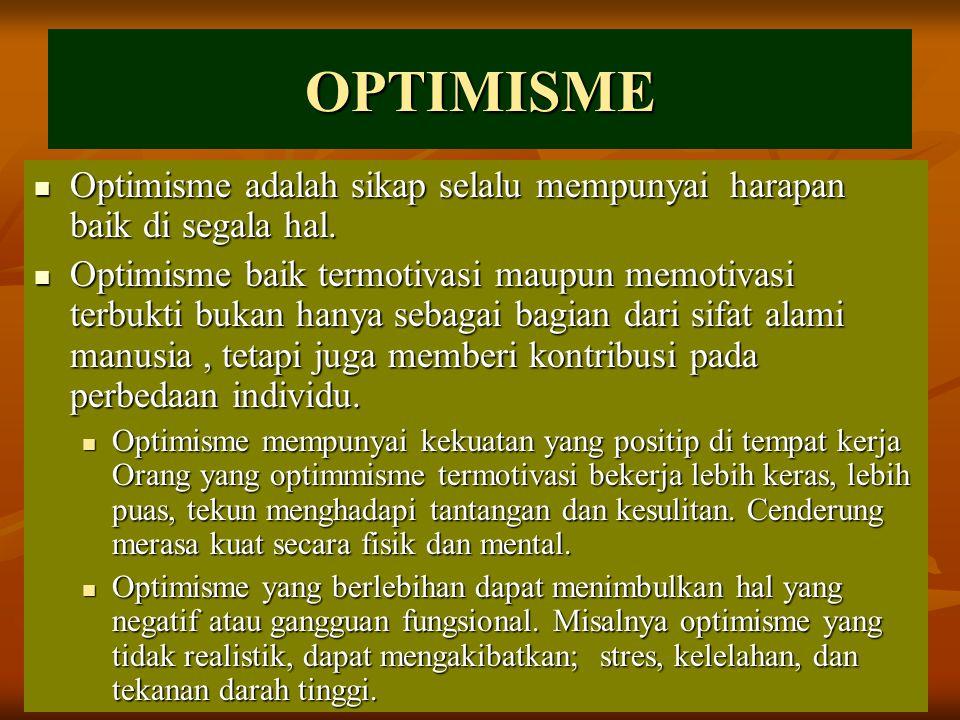 OPTIMISME Optimisme adalah sikap selalu mempunyai harapan baik di segala hal.