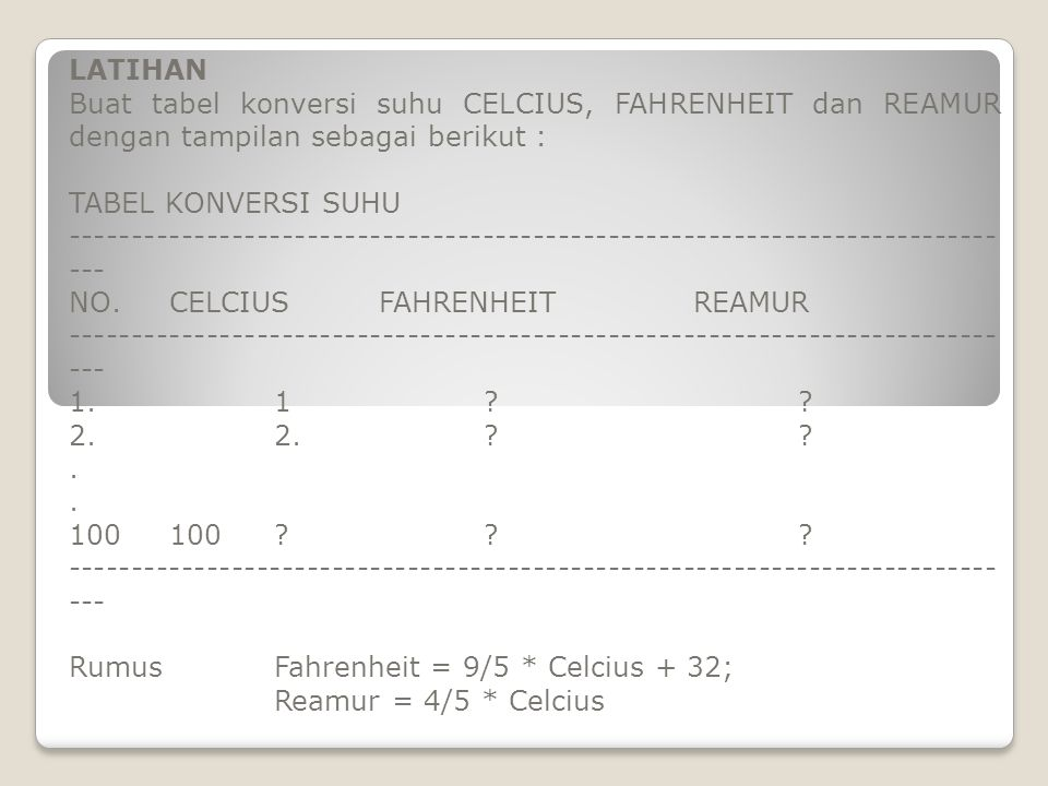 LATIHAN Buat tabel konversi suhu CELCIUS, FAHRENHEIT dan REAMUR dengan tampilan sebagai berikut :