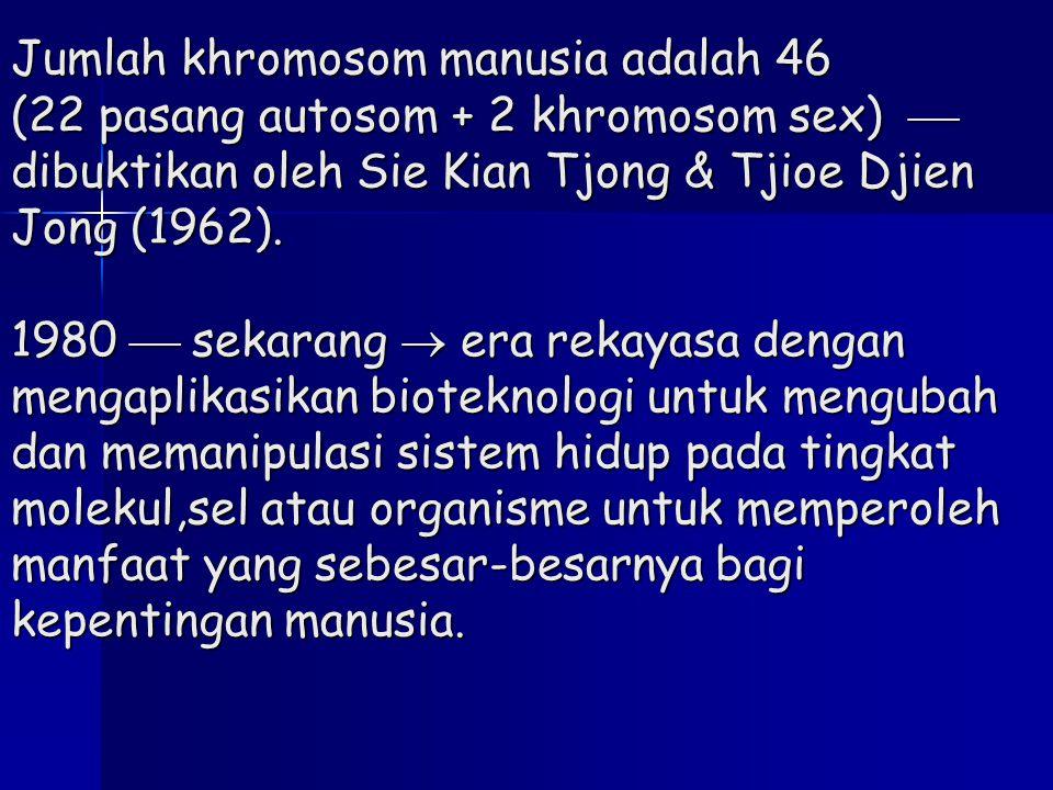 Jumlah khromosom manusia adalah 46 (22 pasang autosom + 2 khromosom sex)  dibuktikan oleh Sie Kian Tjong & Tjioe Djien Jong (1962).