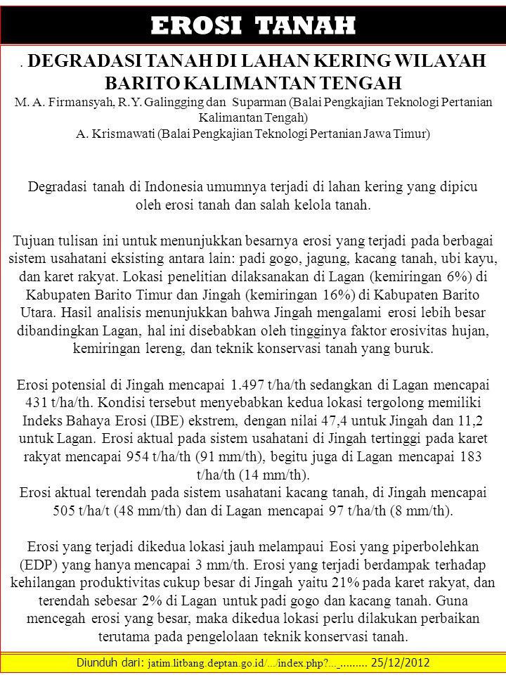 EROSI TANAH . DEGRADASI TANAH DI LAHAN KERING WILAYAH BARITO KALIMANTAN TENGAH.